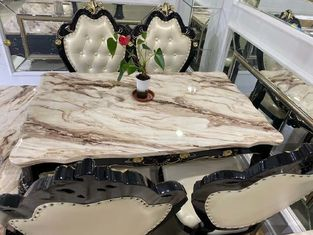 European Style Faux Marble Top Coffee Table With Leather Chairs Wearproof