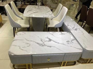 Glossy Surface White Marble Coffee Table Set Modern Style Easy Cleaning