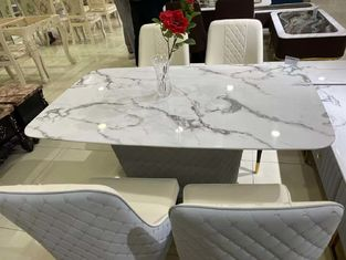 Home Faux White Marble Coffee Table , Artificial Stone Surface Oak Coffee Table Set