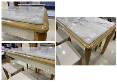 Marble Top Solid Pine Coffee Table With Comfortable Chairs No Deformation
