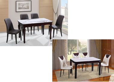 Nordic Style Faux Marble Kitchen Table And Chairs , Modern Dining Table Set